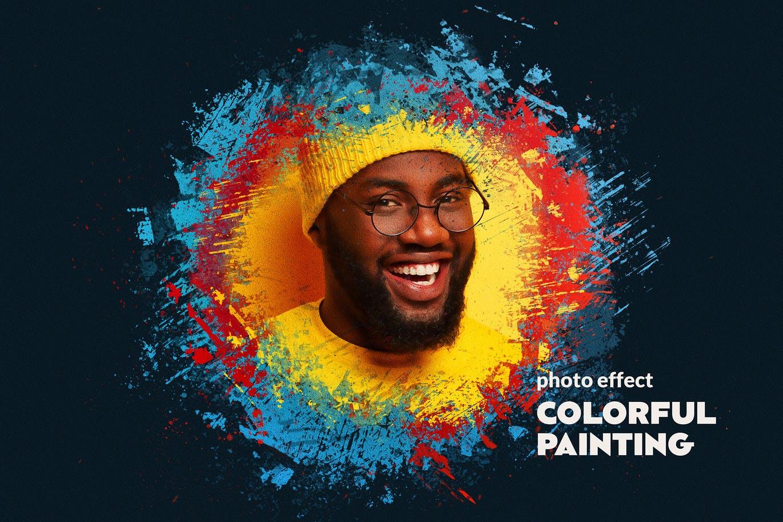 逼真油漆喷溅混合效果照片处理特效PS样式模板 Paint Splatters Photo Effect插图