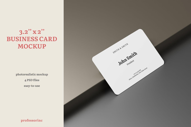 逼真商务名片卡片设计PSD样机模板素材 3.2×2 Business Card Mockup插图
