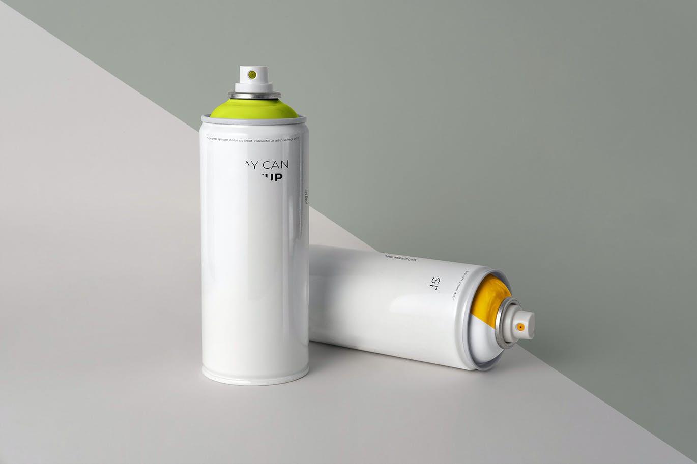 简约喷雾瓶外观设计样机模板 Aerosol Can Mockup插图1