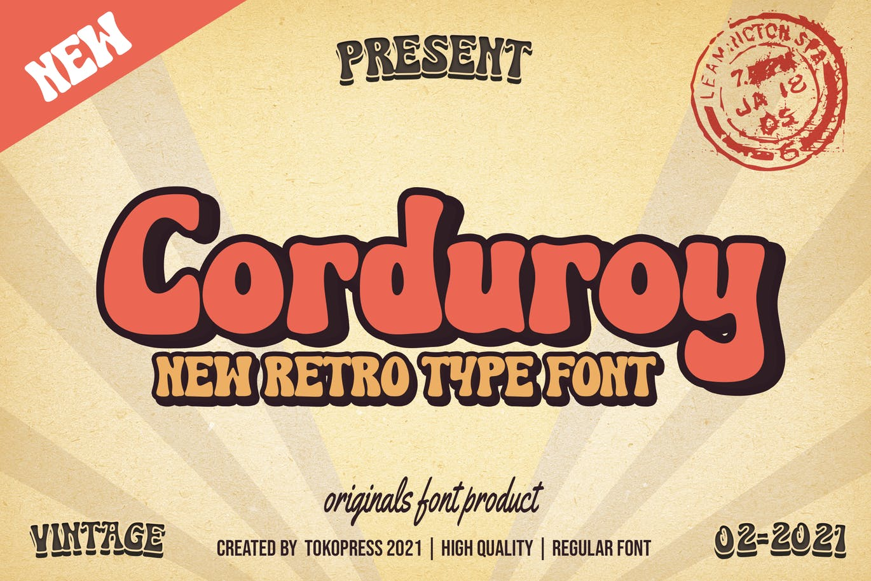 复古圆润海报标题Logo设计粗体英文字体素材 Corduroy – Classic Groovy Font插图