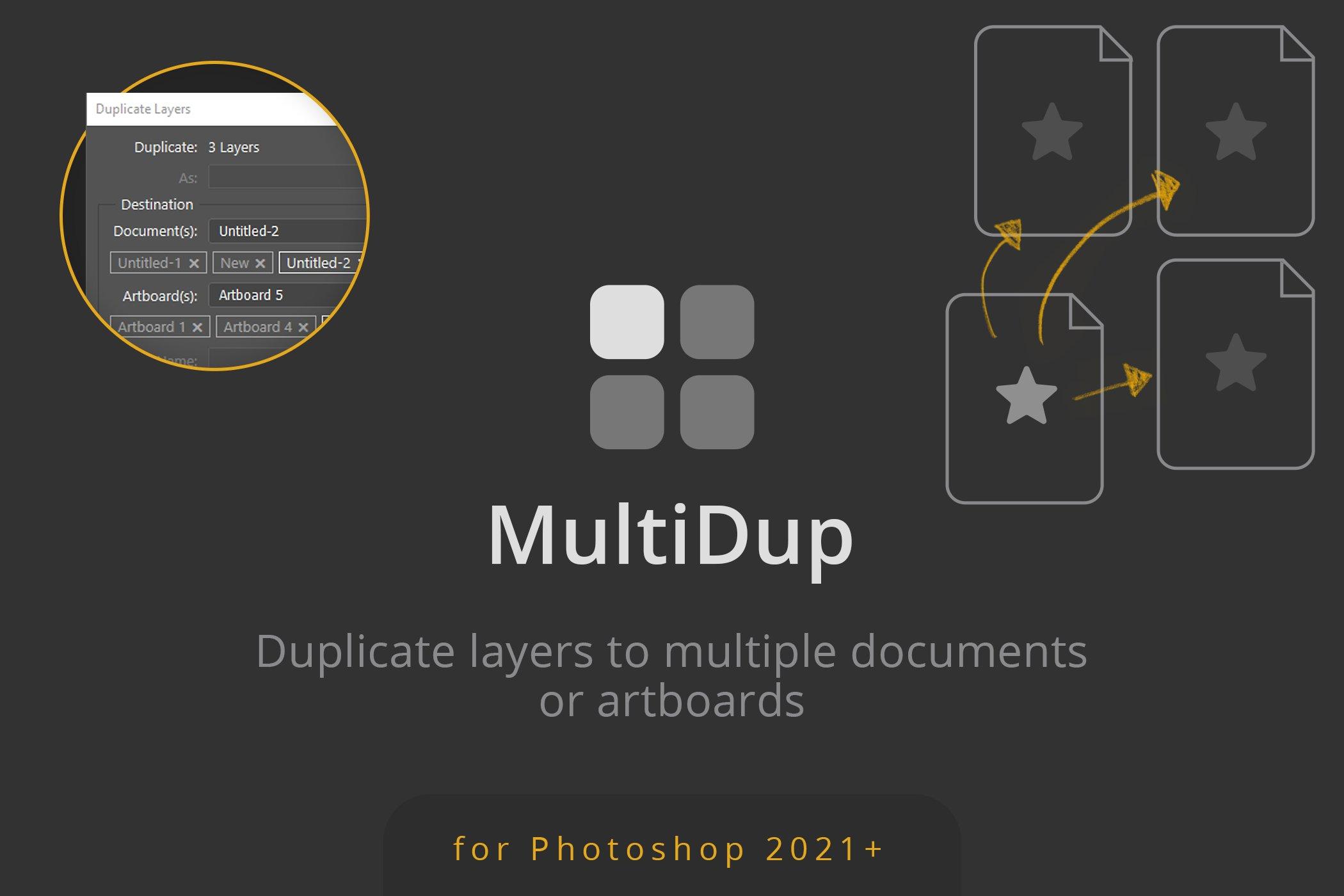 一键批量复制图层处理特效PS插件素材 MultiDup – Batch Duplication In PS插图