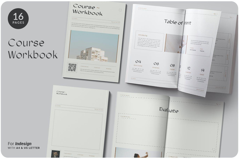 16页课程工作簿手册设计INDD模板素材 The Course Workbook  Minimal插图