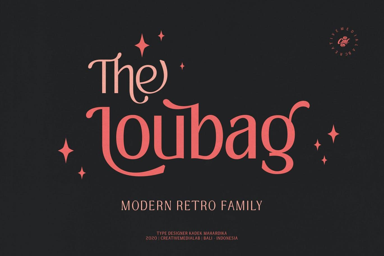 现代时尚复古杂志海报标题徽标Logo无衬线英文字体素材 Loubag – Modern Retro Family插图