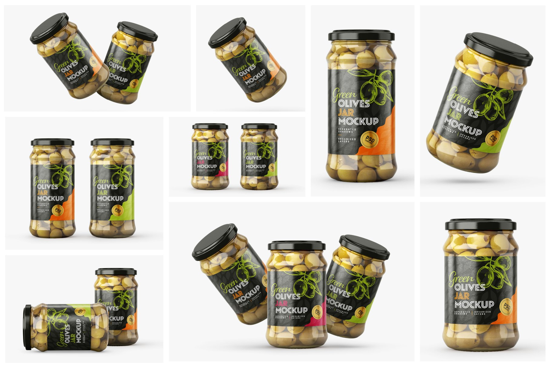 9款新潮华丽食品果酱罐头玻璃罐标签设计样机合集 Olives Jar Mockup Set插图1