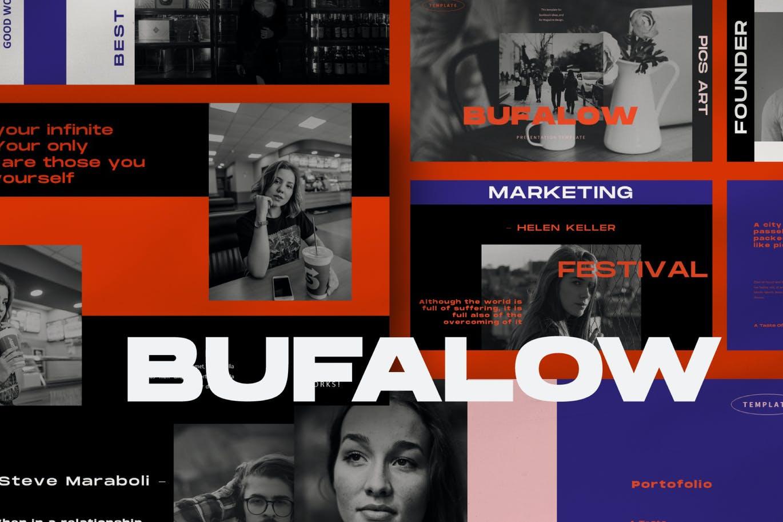 时尚摄影作品集幻灯片设计PPT模板素材 Bufalow Powerpoint Template插图