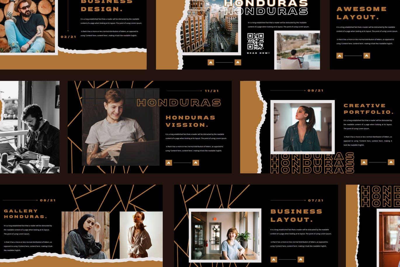 潮流撕纸效果品牌营销设计提案简报演示文稿模板素材 HONDURAS Bundle Presentation Template插图