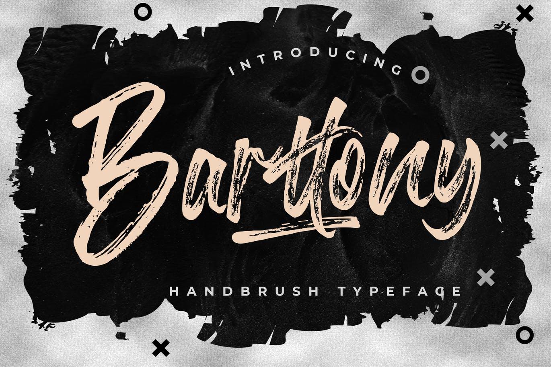 时尚复古品牌标题徽标Logo设计手写毛笔英文字体素材 Barttony Handbrush Typeface插图