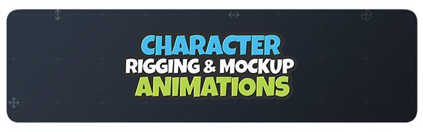 [单独购买] 潮流自定义卡通二维MG人物角色骨骼绑定Duik映射动作动画AE视频模板素材 Character Rigging Mock Up Animations插图1
