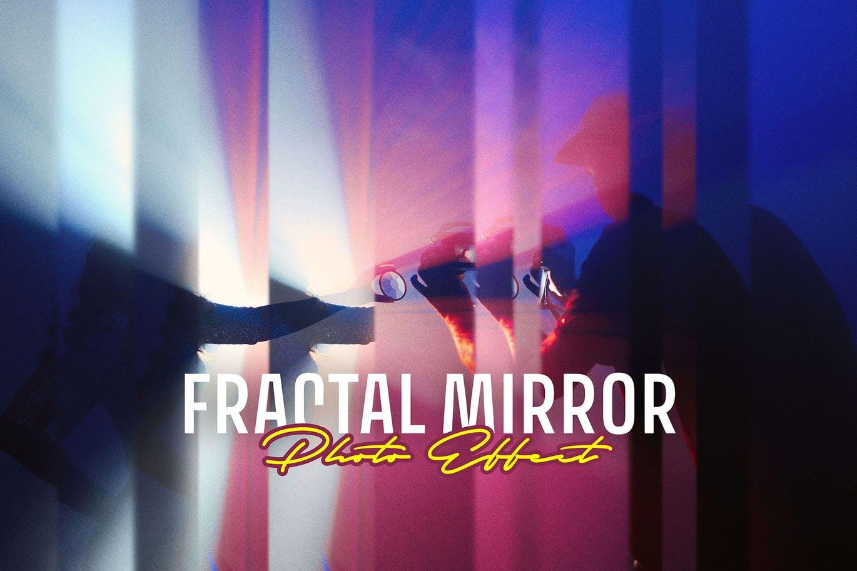 潮流分形镜照片效果图片处理特效PS样机模板素材 Fractal Mirror Photo Effect插图