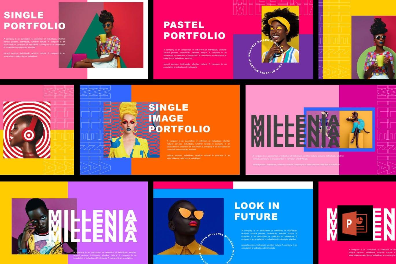 时尚炫彩品牌策划提案简报作品集设计PPT+Keynote模板 Millenia – Fashion PowerPoint Template插图