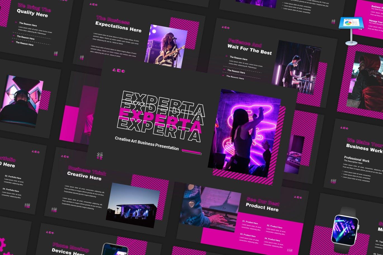 创意霓虹灯效果商业策划演示文稿设计Keynote模板 Experta – Creative Business Keynote Template插图