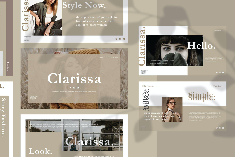 时尚简约摄影作品集图文排版幻灯片设计模板 Clarissa Bundle Presentation插图