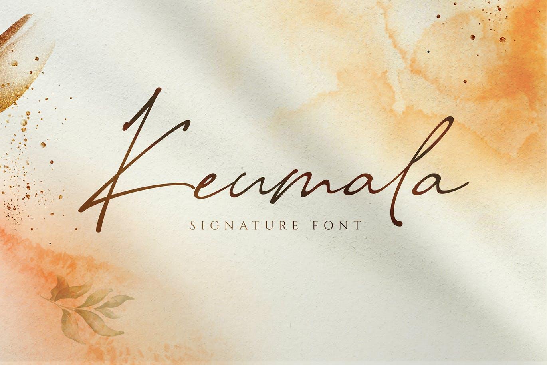 现代优雅杂志徽标Logo手写英文字体设计素材 Keumala – Script Signature Font插图