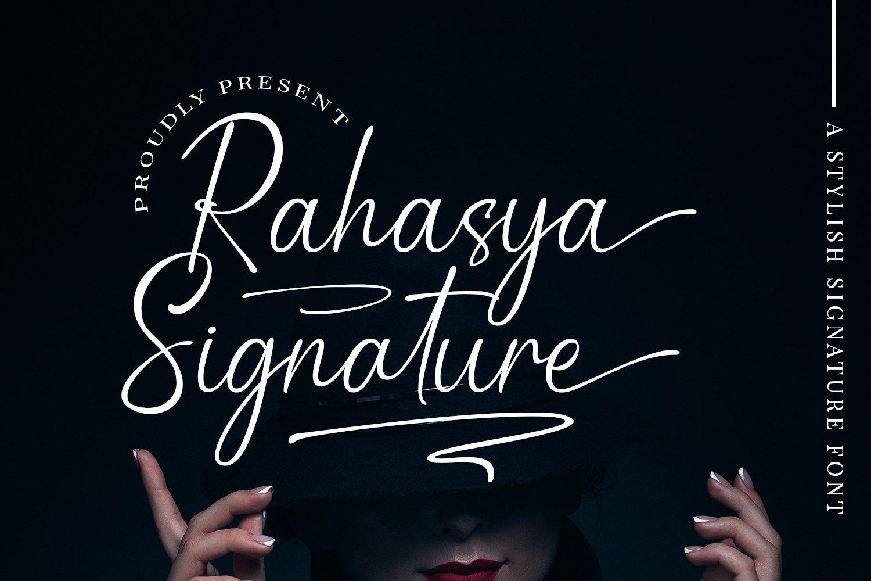 现代优雅品牌徽标Logo标题设计手写英文字体素材 Rahasya Signature Font插图