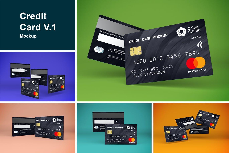 5款逼真银行信用卡卡片设计展示贴图样机素材 Credit Card V.1插图