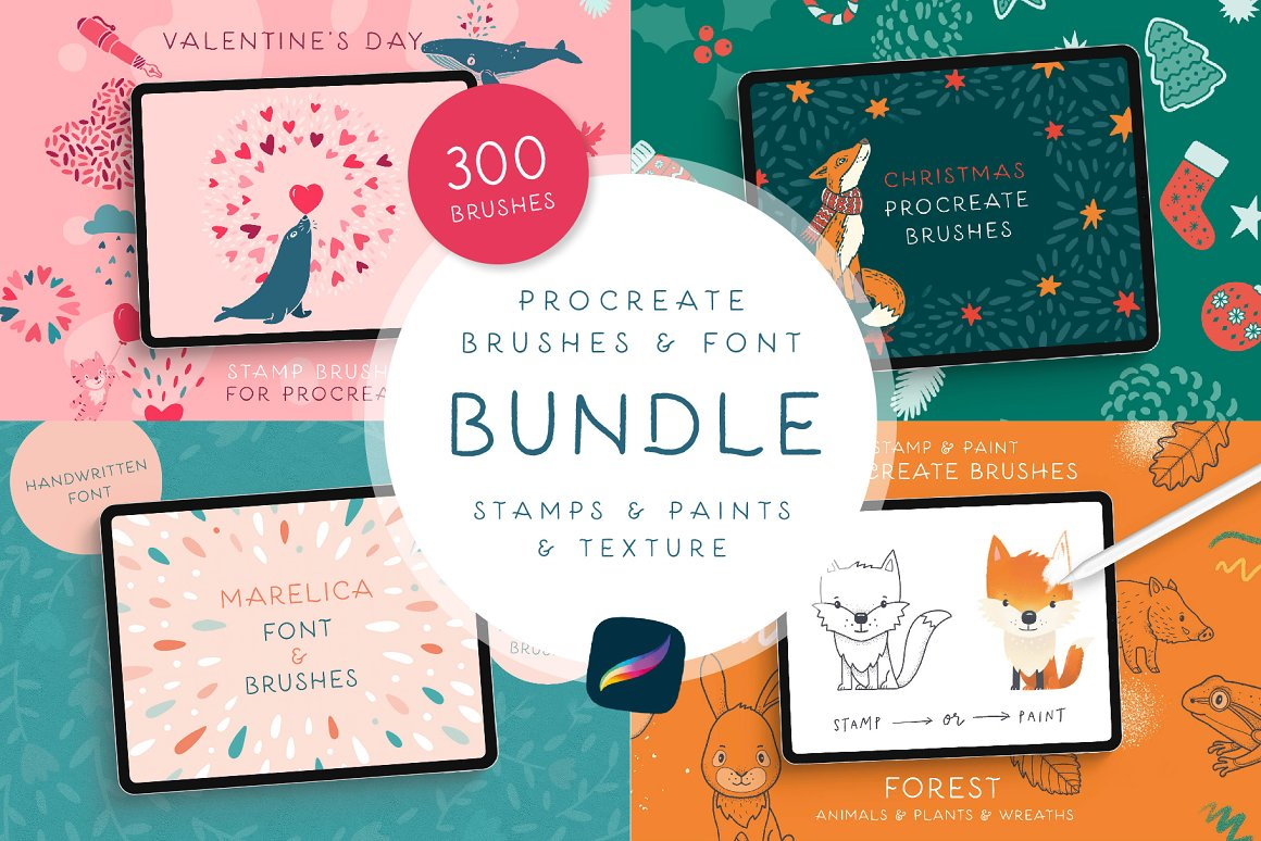 300个点状颗粒花卉动物心形艺术绘画iPad Procreate笔刷字体套装 Procreate Brushes & Font Bundle插图