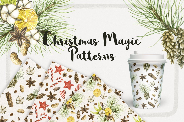 19个圣诞节主题松枝鹿角手绘剪贴画JPG图片素材 Watercolor Christmas Magic Patterns插图