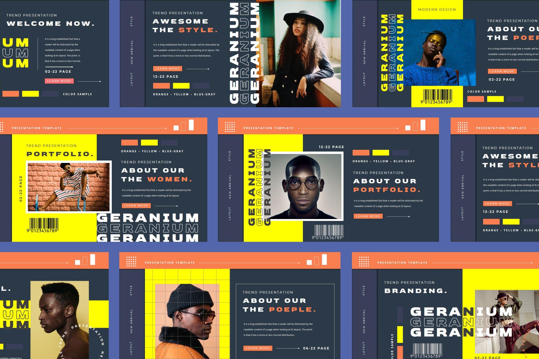 潮流品牌营销提案简报作品集设计模板 GERANIUM Powerpoint Template插图