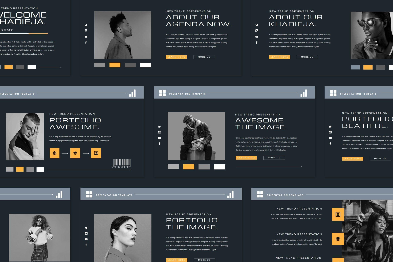 潮流品牌策划提案简报作品集设计演示文稿模板 KHADIEJA Powerpoint Template插图