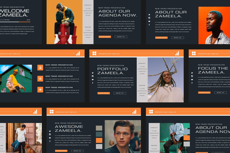 潮流品牌服装摄影作品集演示文稿设计模板 ZAMEELA Powerpoint Template插图