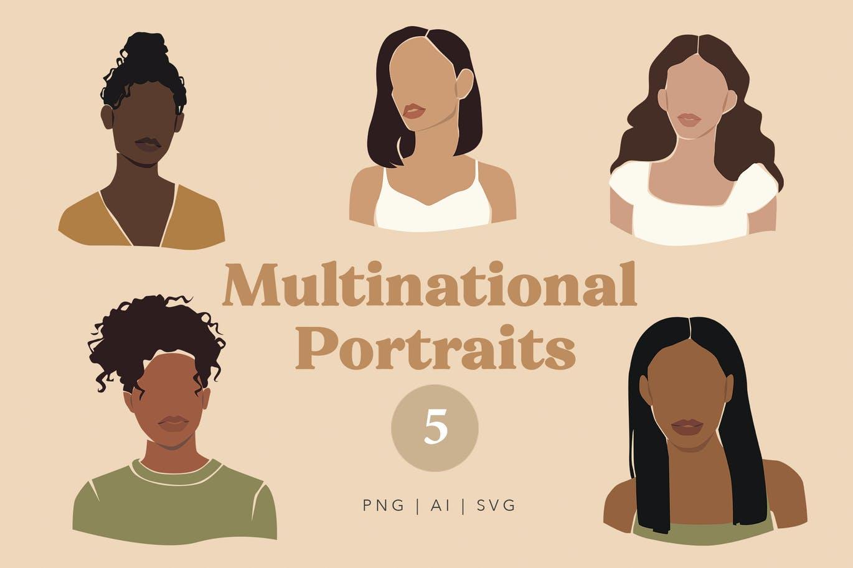 精美抽象女性脸部肖像手绘矢量图形素材 Multinational Abstract Women Portraits插图