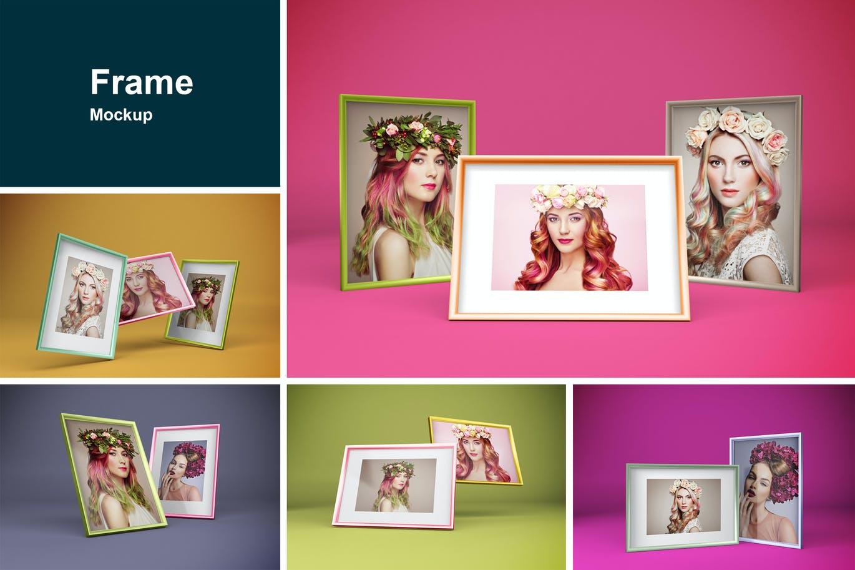 多角度艺术品相片展示相框样机模板 Frame Mockup插图