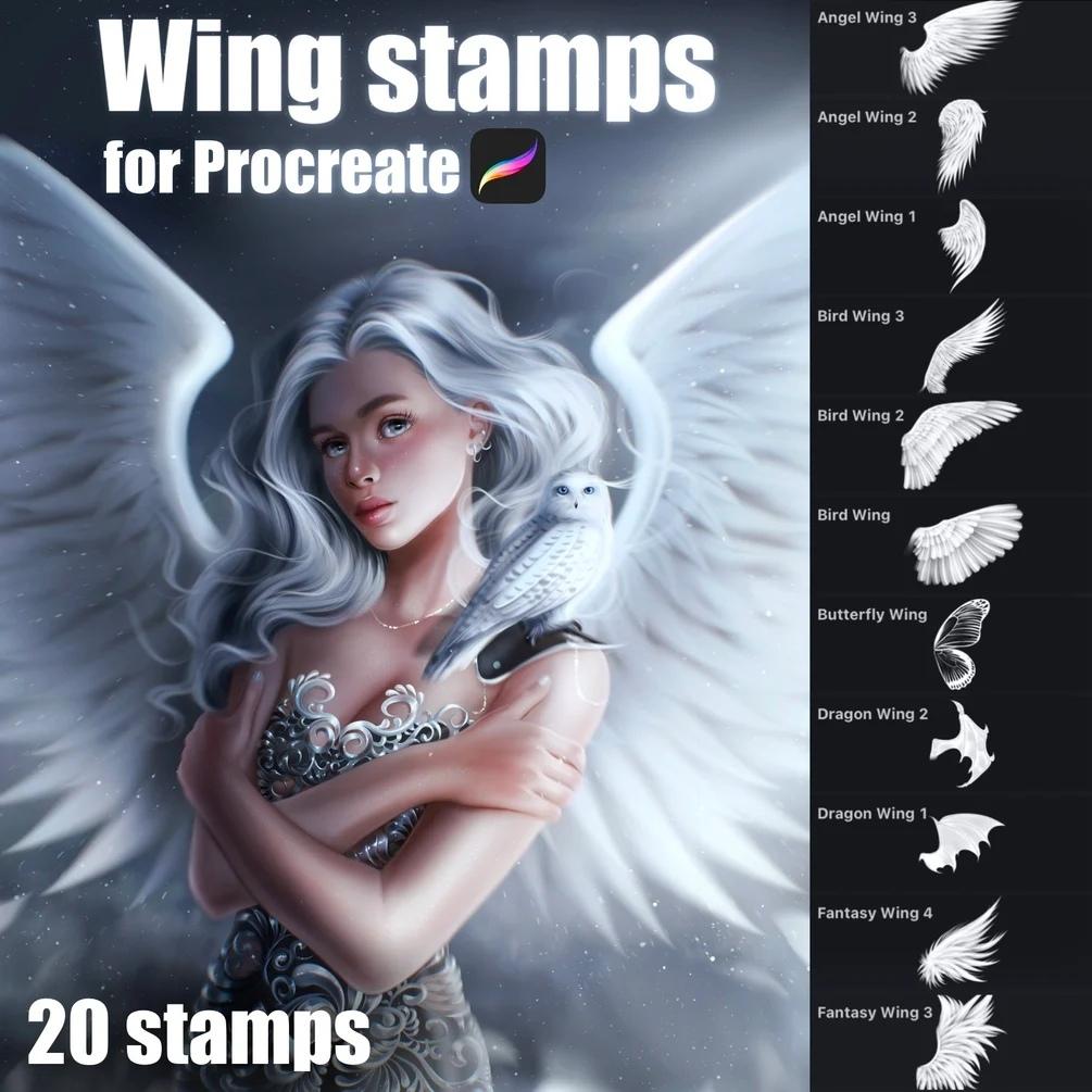 20个飞行动物翅膀艺术绘画Procreate笔刷素材 Wing Stamps for Procreate插图