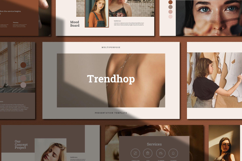 时尚奢华女性服装摄影作品集演示文稿模版 Trendhop Powerpoint Template插图