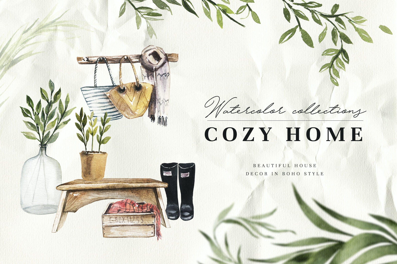 清新波西米亚风室内家具手绘水彩画PNG免抠图片素材 Watercolor Cozy Home插图