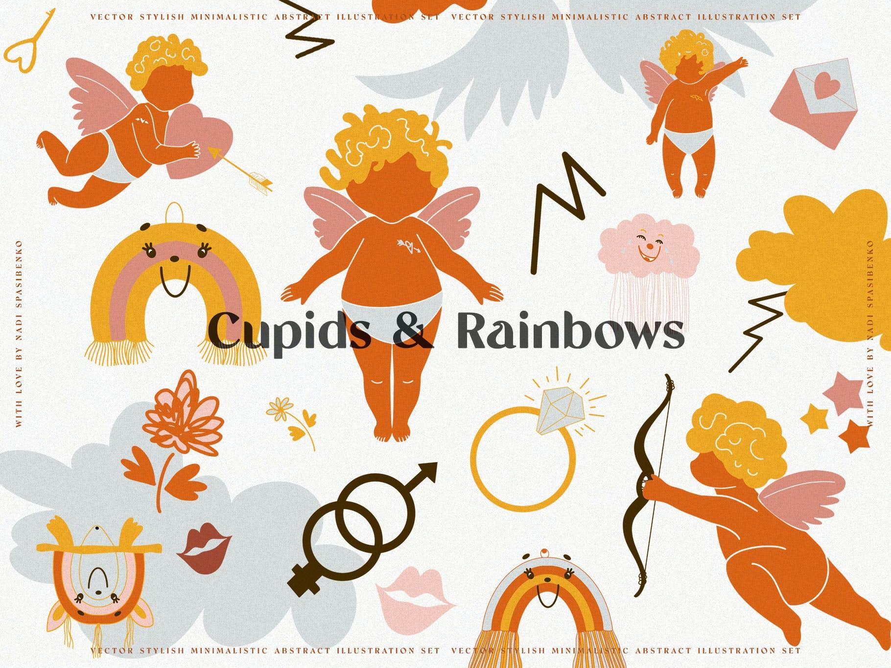 时尚抽象可爱卡通彩虹丘比特元素手绘插画矢量设计素材 Cupids & Cute Rainbows插图