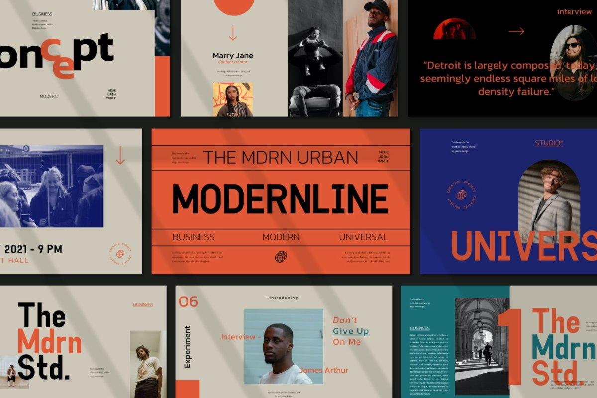 时尚潮流服装摄影作品集演示文稿设计PPT模板 Modern Line Powerpoint Template插图