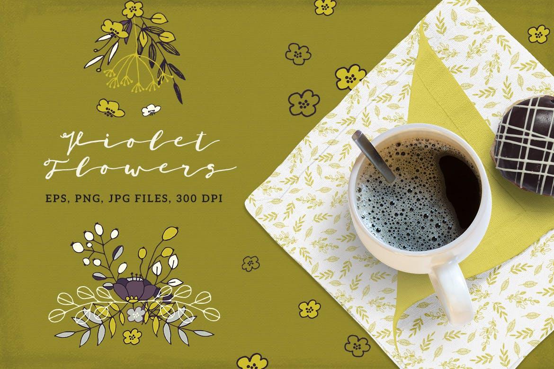 优美紫罗兰手绘插画矢量设计素材 Violet Flowers插图