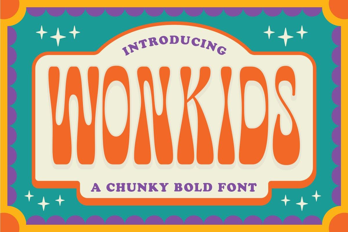 有趣卡通海报品牌包装标题Logo粗体英文字体素材 Fuente Wonkids Bold & Chunky插图