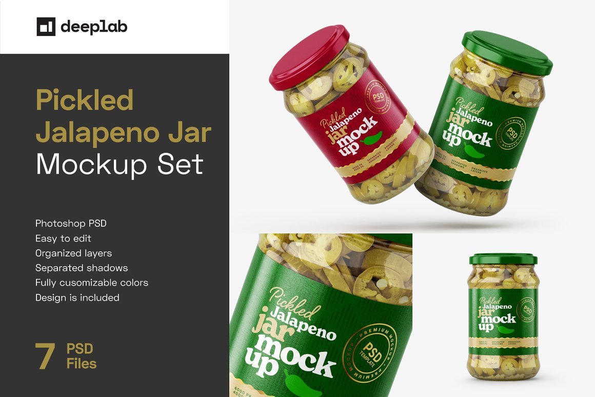 7款华丽胡椒果酱玻璃瓶标签设计展示贴图样机合集 Pickled Jalapeno Jar Mockup Set插图