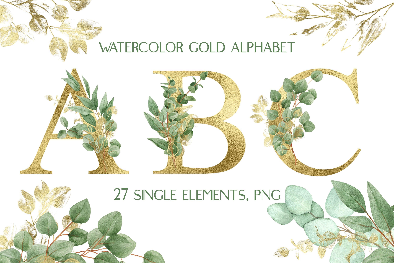 华丽金色字母树叶花卉装饰图案手绘剪贴画PNG透明图片素材 Sublimation Alphabet Gold Letters插图