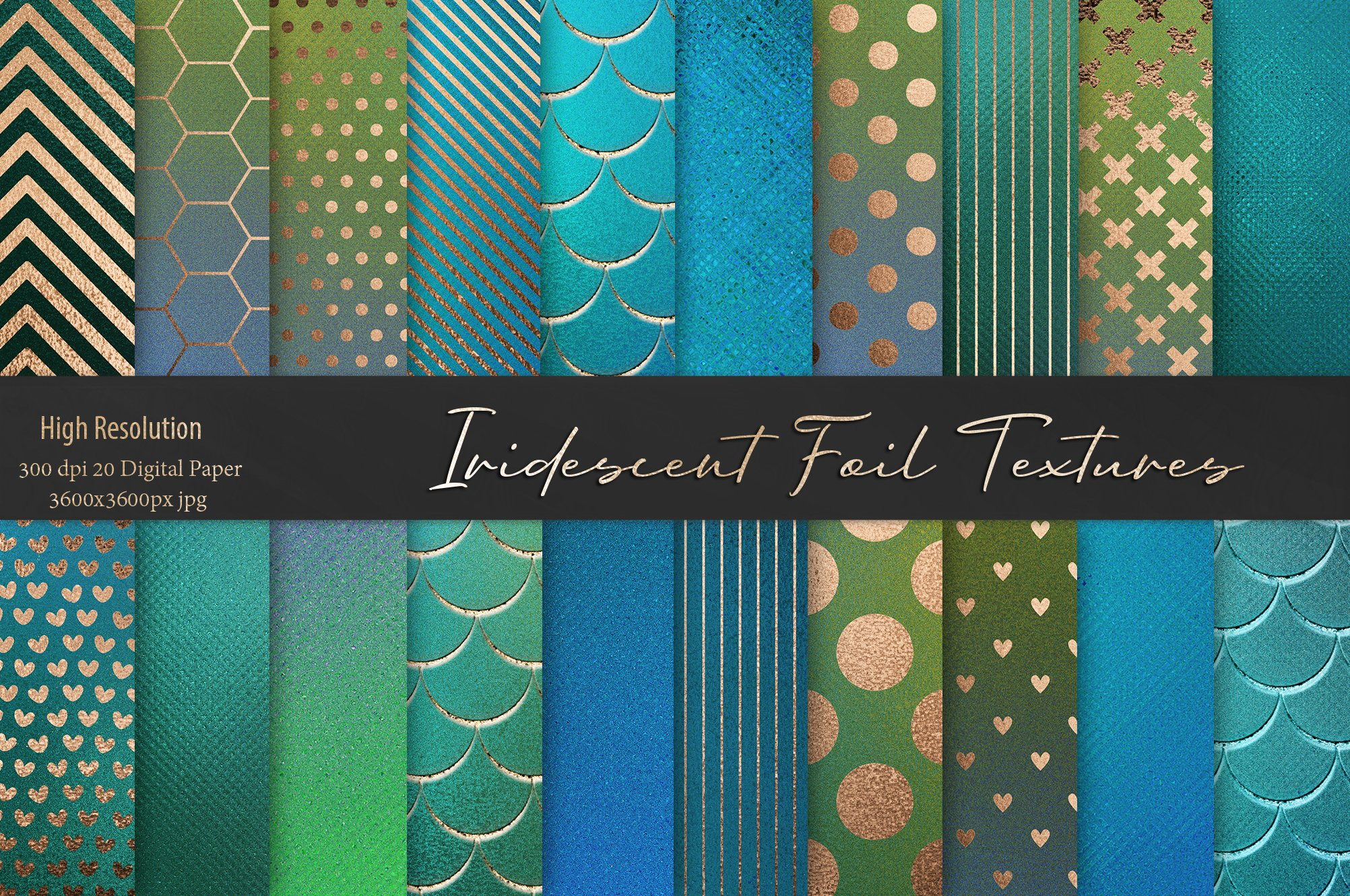 20款蓝绿色虹彩金箔纸纹理海报设计背景图片素材 Iridescent Gold Foil Textures插图
