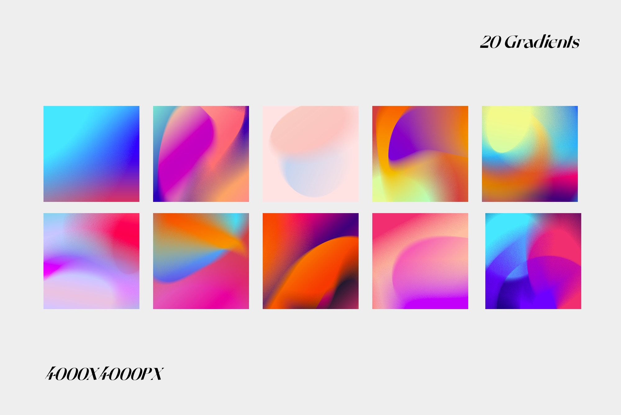 [单独购买] 潮流复古炫彩颗粒噪点模糊渐变背景纹理图形设计素材 Gradient Color Grainy Textures插图8