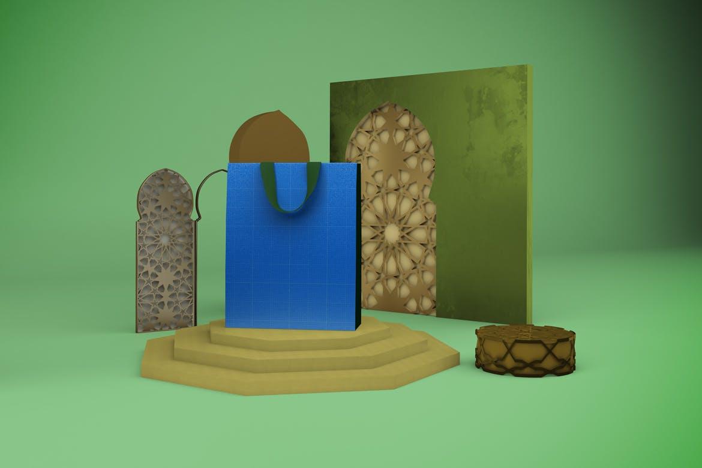 阿拉伯风格购物手提纸袋设计展示样机 Arabic Bag V.1 Mockup插图9