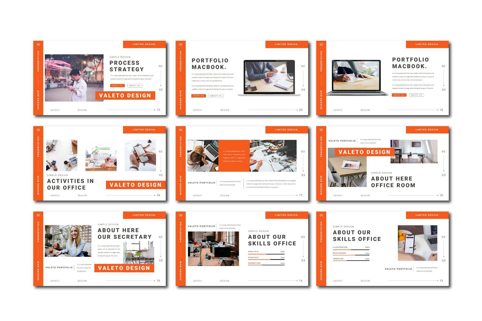 极简主义企业营销策划演示文稿设计模板 Valeto Powerpoint Template插图9