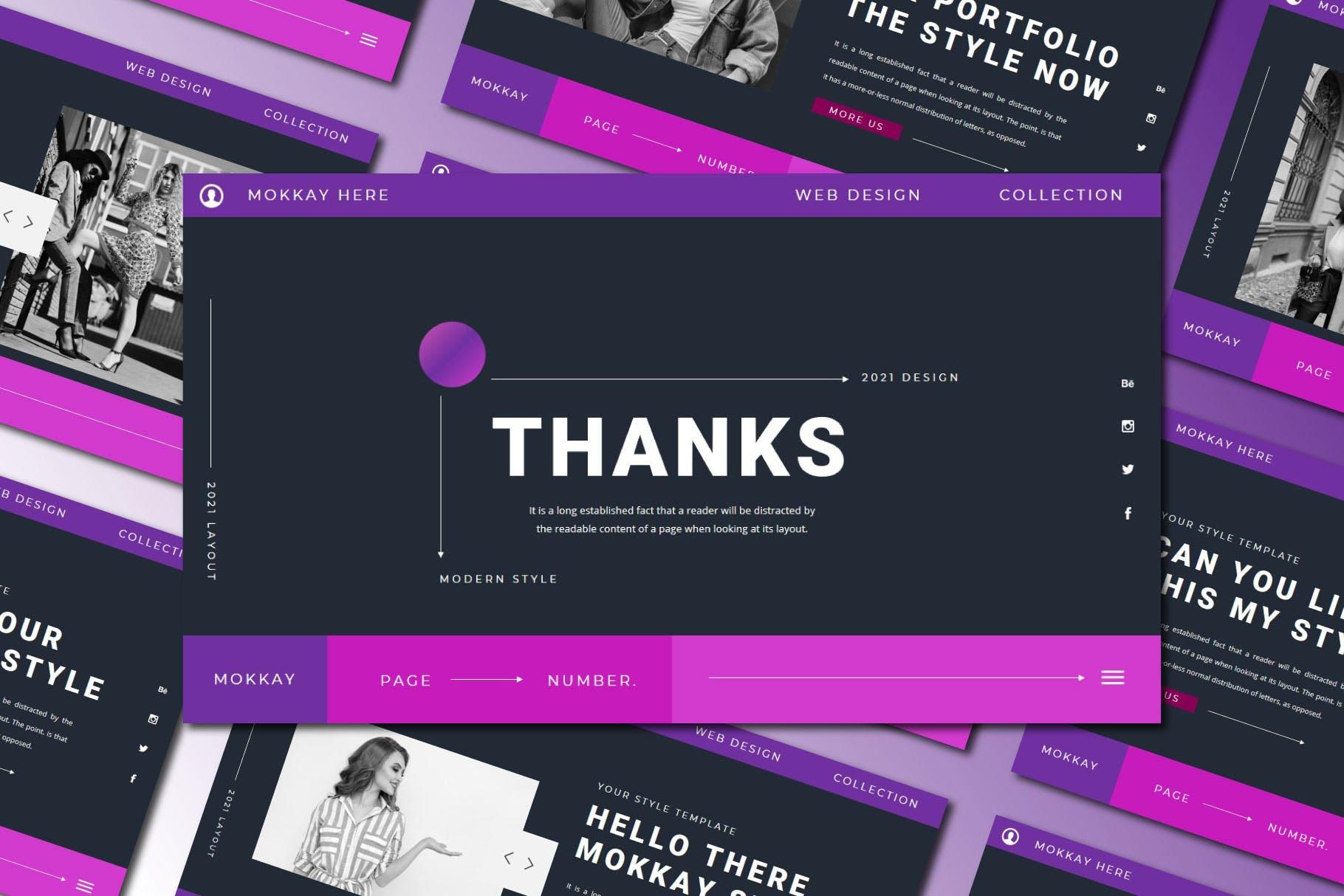 潮流服装摄影作品集图文排版 Keynote设计模板 MOKKAY Keynote Template插图9