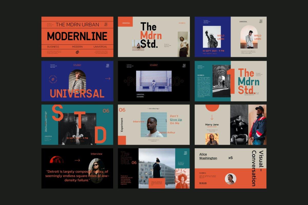 时尚潮流服装摄影作品集演示文稿设计PPT模板 Modern Line Powerpoint Template插图9