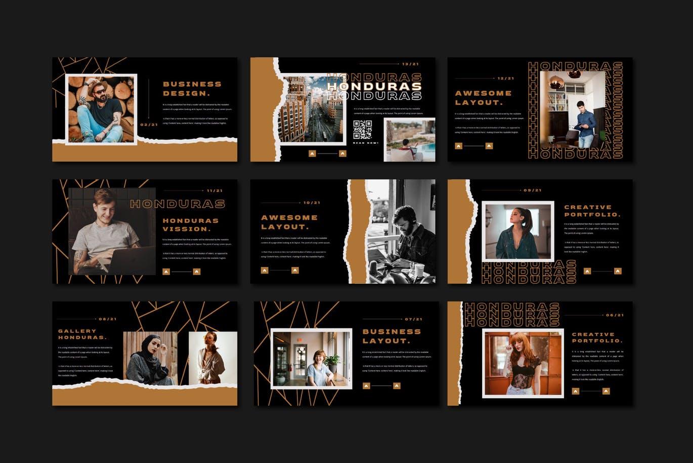 潮流撕纸效果品牌营销设计提案简报演示文稿模板素材 HONDURAS Bundle Presentation Template插图9