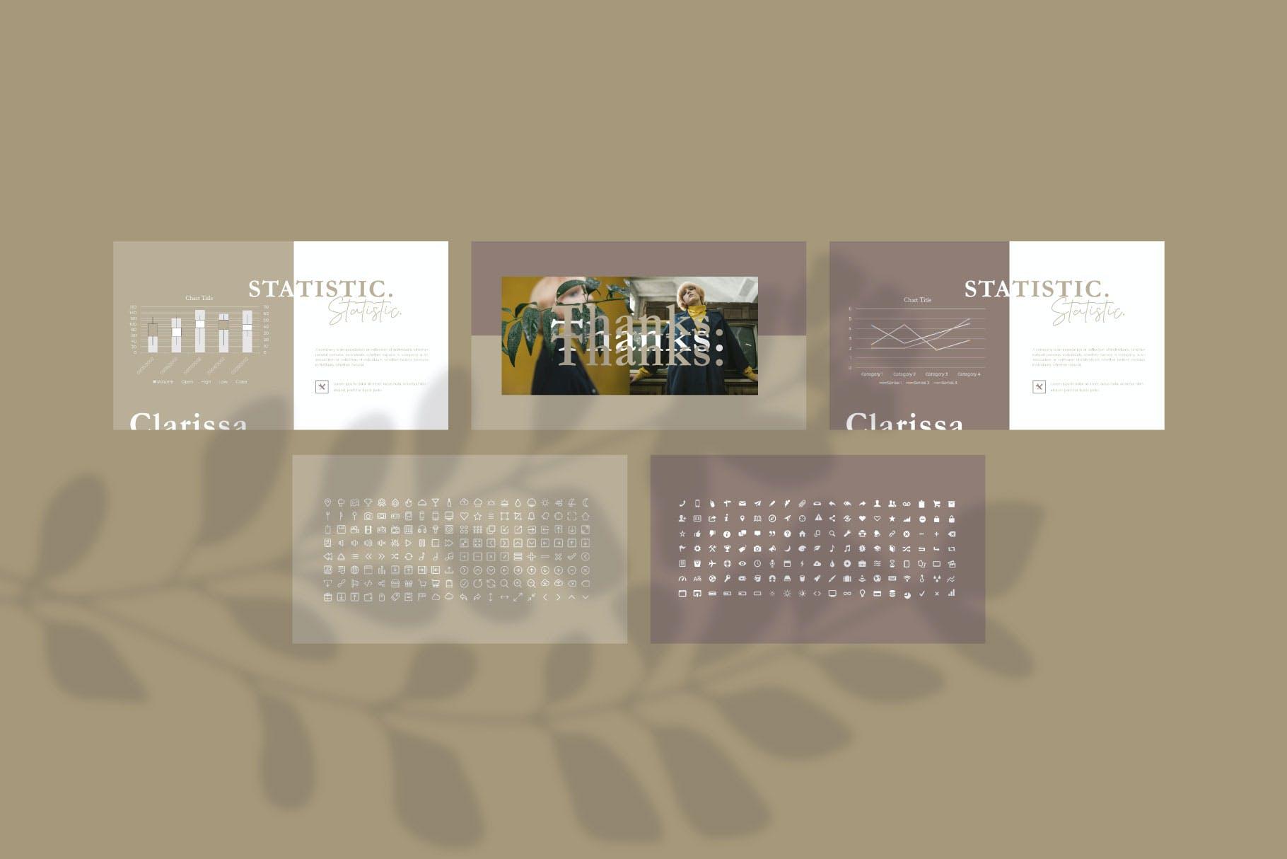 时尚简约摄影作品集图文排版幻灯片设计模板 Clarissa Bundle Presentation插图9