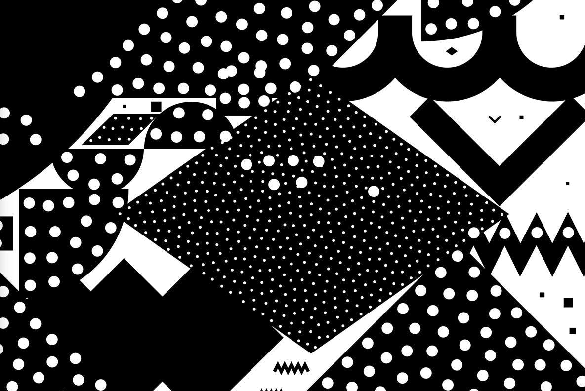 20个抽象几何拼贴矢量背景图片设计素材 Mono Contain – Background Patterns插图9