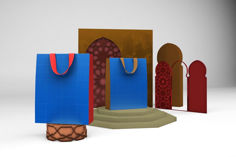 阿拉伯风格购物手提纸袋设计展示样机 Arabic Bag V.1 Mockup插图10
