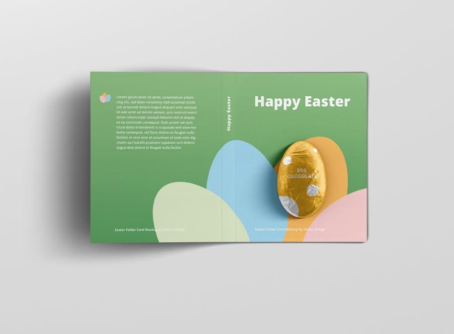 时尚带巧克力文件夹卡片设计样机素材 Easter Folder Card Mockup插图9