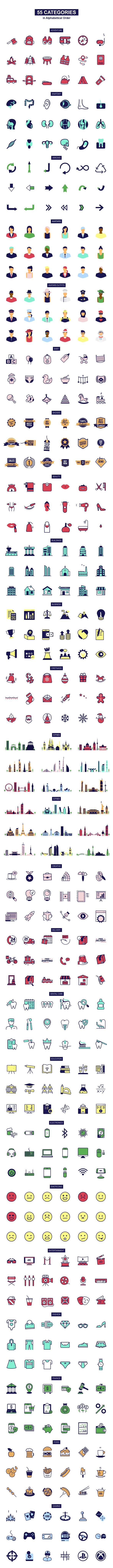 1000组线条ICON图标扁平化MG动画AE视频模板素材 PremiumBuilder Animated Icons插图10