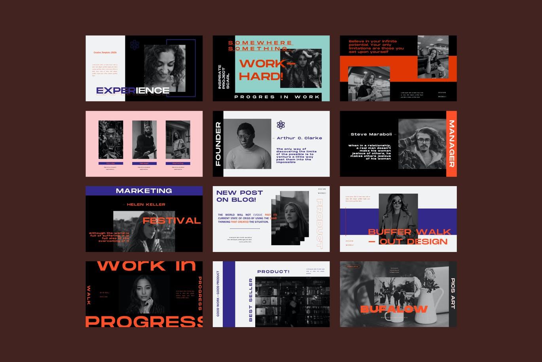 时尚摄影作品集幻灯片设计PPT模板素材 Bufalow Powerpoint Template插图10