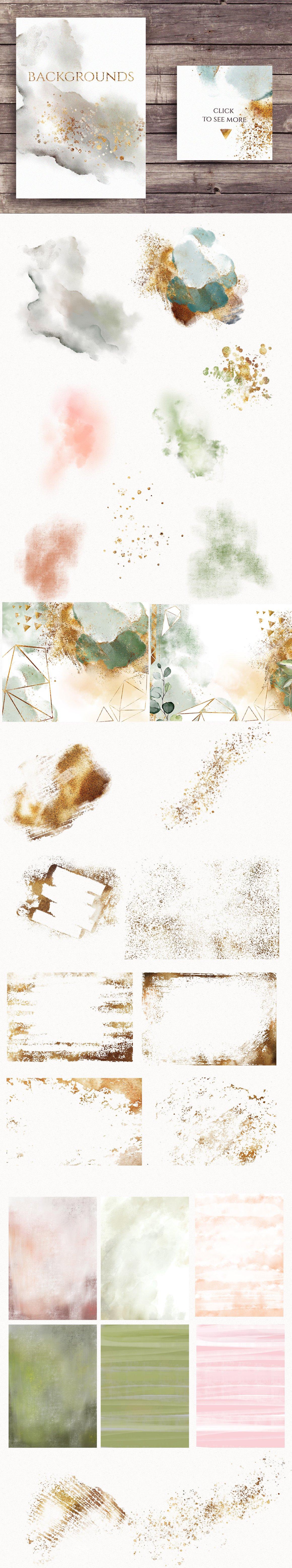 精美金色字母几何PNG透明背景图片设计素材 Floral alphabet letters. Geometrics插图2