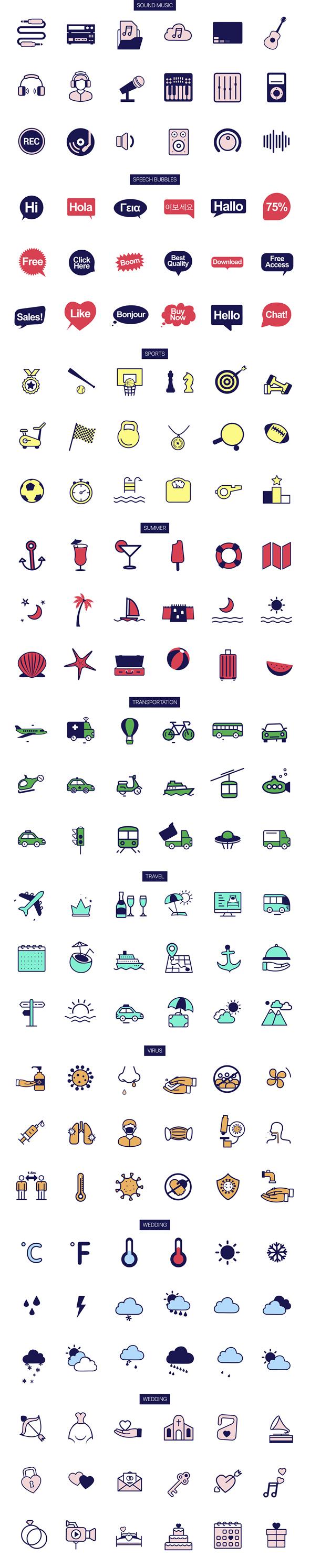 1000组线条ICON图标扁平化MG动画AE视频模板素材 PremiumBuilder Animated Icons插图12